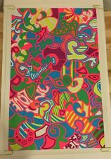 Original Vintage Black light Poster Peace Love Flower Abstract 1970's Artko Neon