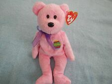 TY BEANIE BABY - EGGS - GORGEOUS PINK EASTER BEAR  -  APRIL 23 BIRTHDAY