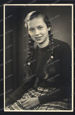 Vintage PHOTO-Pigtails-Dress-Fashion - 1950 HE-CUTE TEEN GIRL-Sweet