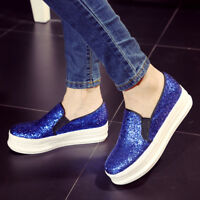Women's Pop Sequins Shiny Round Toe Platform Loafers Casual Shoes Slip on Size 8