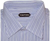 $615 NEW TOM FORD BLUE WHITE PIN STRIPE SPREAD COLLAR DRESS SHIRT EU 44 17.5