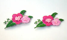 2x PINK FLOWERS SMALL Embroidered Sew Iron On Cloth Patch Badge APPLIQUE