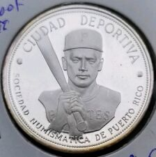 1972 Roberto Clemente Silver Proof Medal Puerto Rico Pittsburgh Pirates Hi Grade