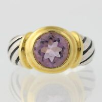 New Chunky Amethyst Ring - Round Solitaire 2-Toned Sterling Silver Size 8 2ct