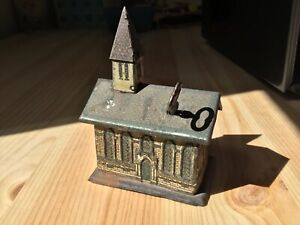 Antique German Litho Church Bank with Key