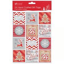 Noël Lot de 24 3D CADEAU / présent étiquettes - Rouge ; blanc et argenté design