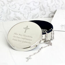Personalised Cross Round Trinket & Holy Rosary Beads Communion Christening Gift