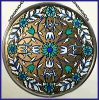 Decorative Hand Painted Stained Glass Roundel - William Morris Blue Garland
