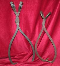 Pair of Large Antique Cast Iron Ice Block Tongs