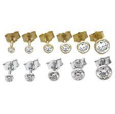Einzelne Unisex Ohrstecker 925 Silber / 333 / 585 GOLD Gelbgold / Weissgold NEU