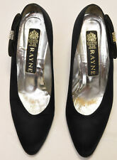 Vintage Rayne British Womens Embellished Kitten Heel Shoes Bow Stud Size 8B