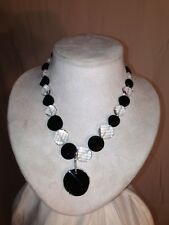 Crystal Necklace and Earring Set Onyx and Clear Quartz with Swarovski
