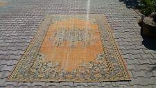 Oushak ,6x9 Turkish Rug,turkis Kilim,anatolian rug,Orange Blue,Vintage Bohemian