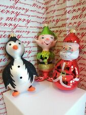 Italian Blown Glass Christmas Ornaments Santa - Elf - Penquin Set of 3