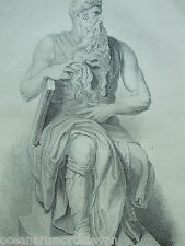 ANTIQUE PRINT C1880'S ANGELO'S MOSES ENGRAVING FAMOUS PAINTERS ARTIST ETCHING