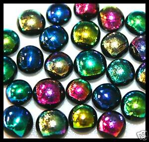 Lot of 12 XS SPLASH GLITTER MIX Fused Glass DICHROIC Cabochons NO HOLE Beads
