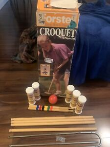 Vintage Wood Forster Croquet Set & Stand - 6 Player - Good Shape- Incomplete