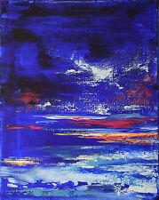 """PEINTURE/TOILE TABLEAU ABSTRAIT original signé H.ZEN, """"NUIT AQUATIQUE"""" 27x22 cm"""