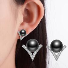 Women NEW Charm 925 Sterling Silver Black Pearl Zircon V Ear Stud Earrings