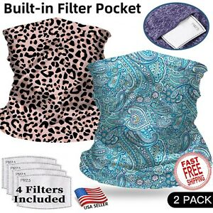 2 Pack Gaiter with Filter Face Mask Cooling Balaclava Bandanna Headband Scarf