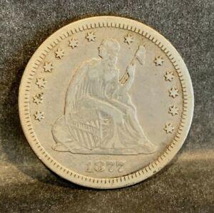 1877-CC Seated Liberty Quarter 25c -- Very Fine VF