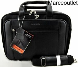 Samsonite Leather Business Checkpoint Friendly Laptop Briefcase Black