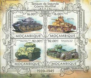 """MOZAMBIQUE - 2013 MNH """"WWII - Tanks Of WORLD WAR II"""" Souvenir Sheet (II) !!!"""