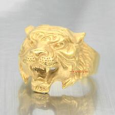 Acero Inoxidable Chapado en Oro Anillo de motociclista de hombre Cabeza De Tigre Animal Depredador Banda