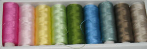 100% Silk Sewing Applique 50 weight Thread Sampler 9 Colors 200 meters each