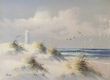 Original Oil On Canvas Painting Artist Signed Of Seascape, Waves, Lighthouse