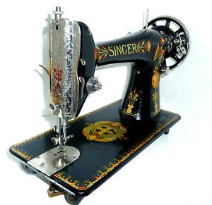 Antique SINGER 66K LOTUS sewing machine denim leather canvas rare victorian vtg