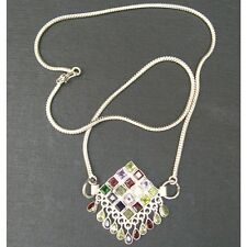 Wholesale Artist-Crafted Sterling Silver & Mixed Gemstone Dangle Snake Necklace