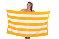 Cabana Stripe Beach Towel, 100% Cotton, Soft & Absorbent, Extra Large - Yellow