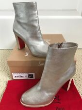 NIB Auth Christian Louboutin Adox 85 Metallic Silver Ankle Boots Booties 37 7