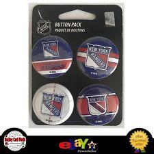"(HCW) New York Rangers Wincraft NHL Button 4 Pack 1.25"" Round Licensed"
