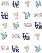 Volleyball Mom Waterslide Nail Decals/art