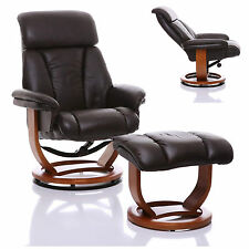 The Saigon - Genuine Leather Recliner Swivel Chair & Footstool In Chocolate