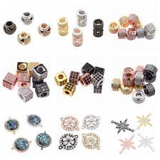 Moda 18K colorido Cubic Zirconia Hágalo usted mismo Pulsera de perlas de Cooper Circón conector Encanto Joyas