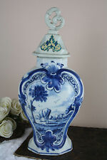 18th c Dutch Lampetkan  Blue white delft pottery vase cows floral marked