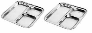 Stainless Steel Square Plates & Dinner Thali With 3 Deep Compartments - 2 Pack