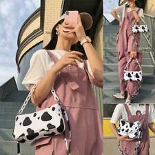 Women Cow Print Handbag Shoulder Crossbody Messenger Bag Purse Q2D8
