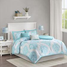 Beautiful Modern Chic Light Blue Aqua Grey White Scroll Beach Soft Comforter Set