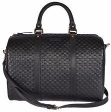 New GUCCI Black Leather Micro GG Guccissima Convertible Boston Satchel Purse
