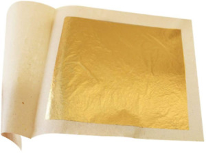 """Edible Gold Leaf Sheets 30pc M-Size 24 Karat 1.2"""" X 1.2"""" Genuine For Cooking NEW"""