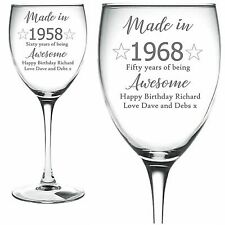 Personalised Engraved Wine Glass made in year age wine happy birthday awesome