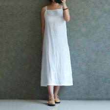 Au8-26 Women Straps Cotton Linen Tank Maxi Long Dress Casual Basic Inside Kaftan White XL