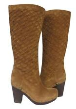 New Ugg Arroyo Tall Basketweave Woven Suede Shearling Clog Boots Chestnut Brown