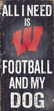 "WISCONSIN BADGERS FOOTBALL & my DOG WOOD SIGN & ROPE 12"" X 6""  NCAA MAN CAVE!"