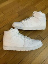 "Nike Air Jordan 1 Mid ""Triple White"" 554724-130 Men's Size 12"