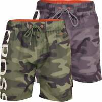 Mens Crosshatch Army Camo Swimming Shorts Trunks Beach Casual Mesh Lined